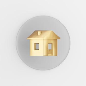 Golden house icon. 3d rendering gray round key button, interface ui ux element.