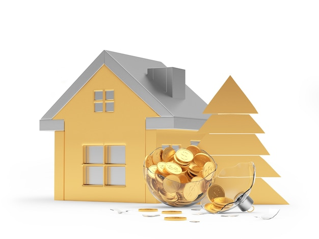 Golden house icon and broken christmas ball with coins