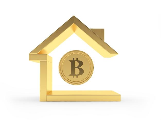 Значок золотой дом с биткойн-монетой
