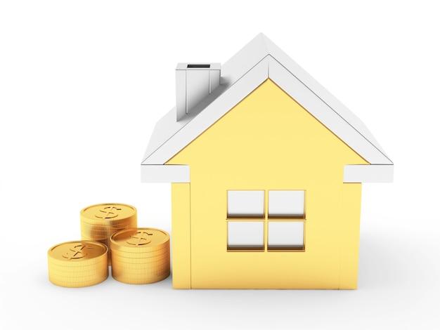 Значок золотой дом с монетами
