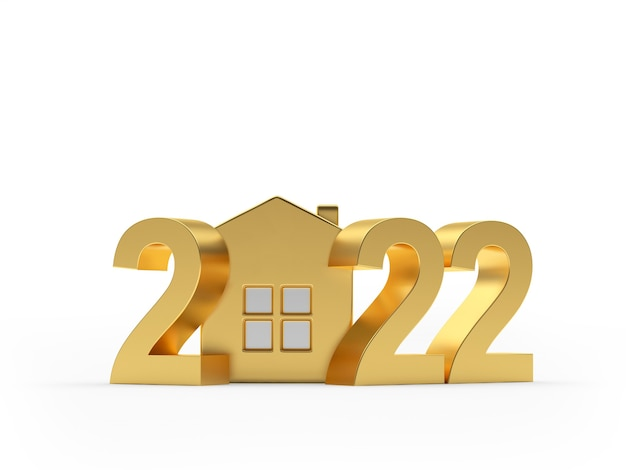 Значок золотой дом с числом нового года в новом году