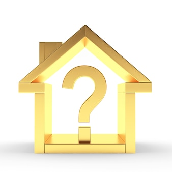 Golden house icon with question mark