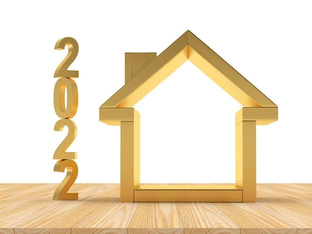 Значок золотой дом с вертикальным числом нового года