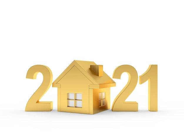 Golden house and number 2021