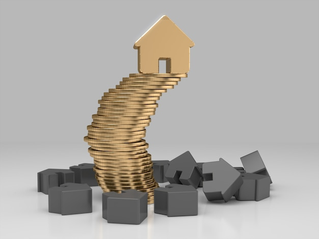 Golden house on stack of coins. financial stability concept. 3d rendering.