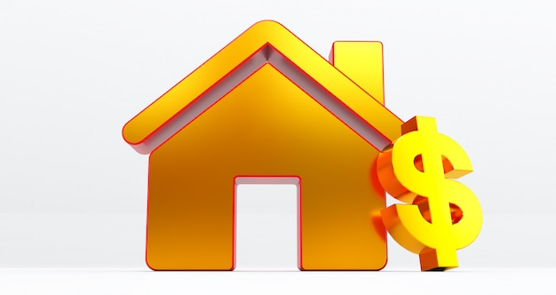 Golden house on white wall with dollar sign. idea for real estate concept