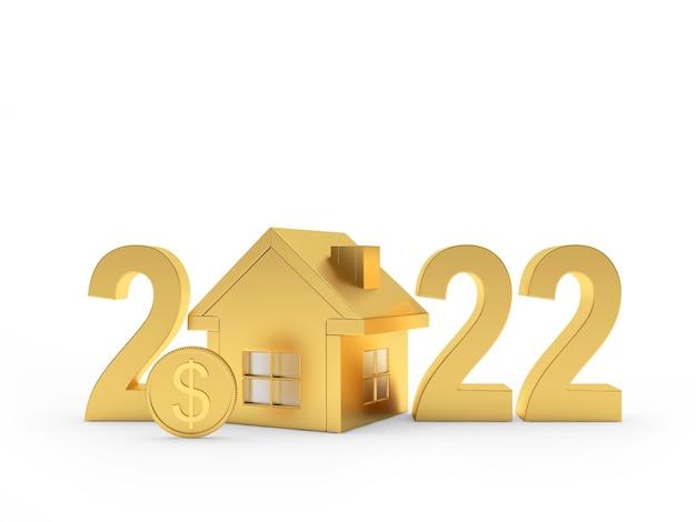 Золотой дом с долларовой монетой и числом нового года