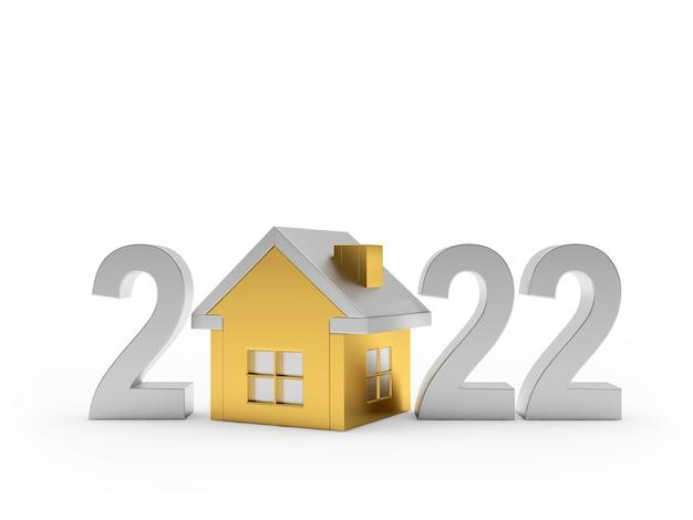 新年の銀の数字と黄金の家