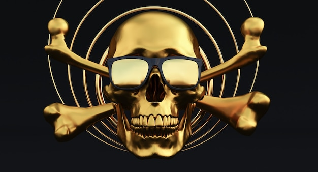 연기 배경, 3d 렌더링에 선글라스와 함께 황금 인간의 두개골과 이미지,