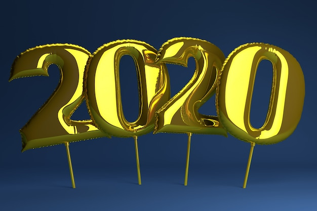 Golden inflatable figures 2020 on blue . balloons. new year. 3d render, .