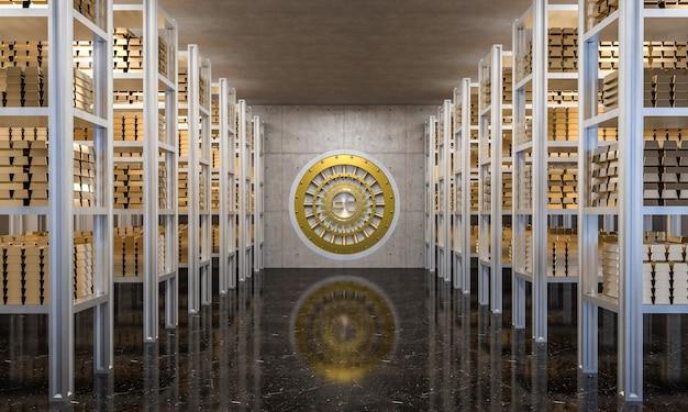 Golden ingot in bank vault