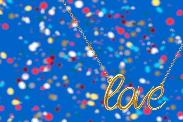 Golden jewelry necklace with love sign on an abstract background. 3d rendering