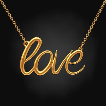 Golden jewelry necklace with love sign on a black background. 3d rendering