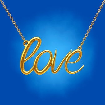 Golden jewelry necklace with love sign on a blue background. 3d rendering