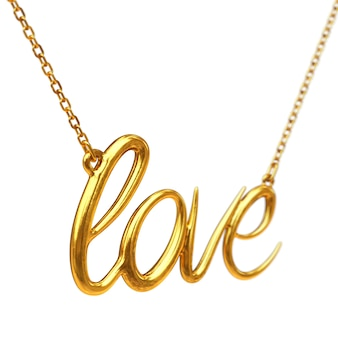 Golden jewelry necklace with love sign on a white background. 3d rendering