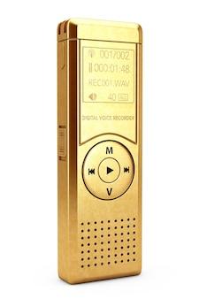白い背景の上のゴールデンジャーナリストデジタルボイスレコーダーまたはディクタフォン。 3dレンダリング