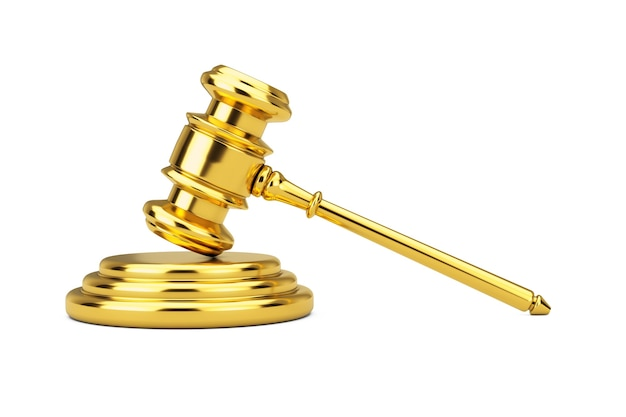 Golden judge gavel and sound block on a white background. 3d rendering