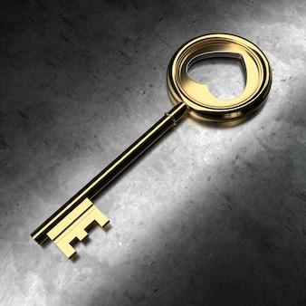 Golden key on black metallic background. 3d rendering