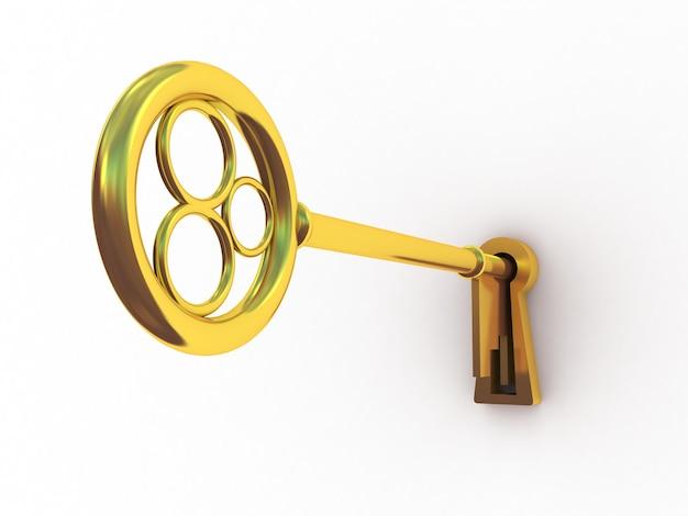 白い背景の上の黄金の鍵、3d画像