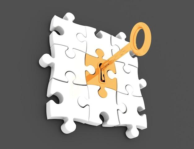 Golden key and puzzle pieces - 3d render illustration