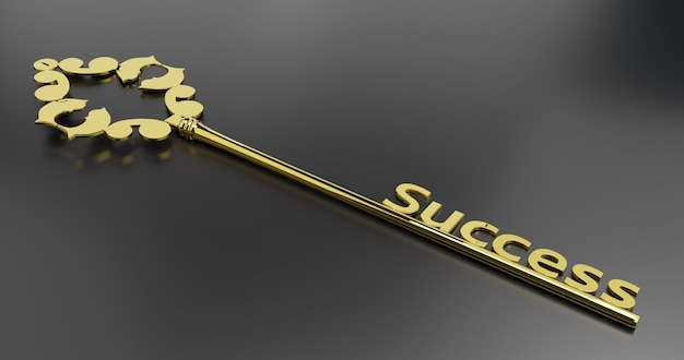 Golden key to success isolated on white background. 3d render illustration on black background.