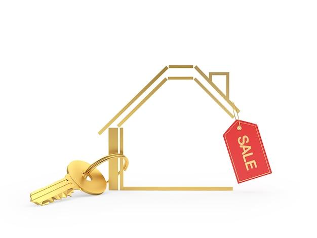 홈 아이콘 및 판매 태그와 황금 열쇠