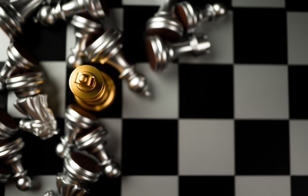 Golden king chess is last standing in the chess board
