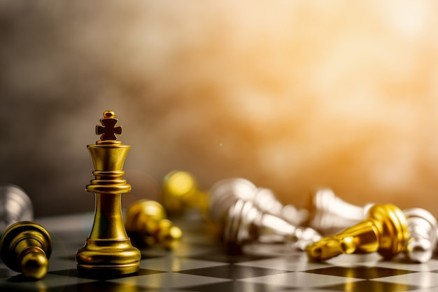 Golden king chess standing encounter defeat enemies.
