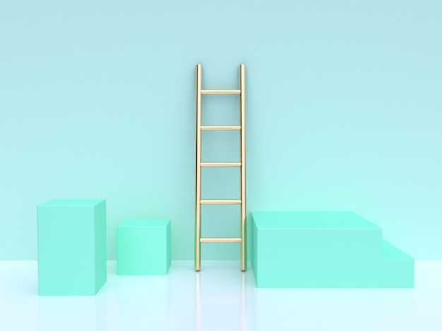 Golden ladder and turquoise cubes 3d rendering