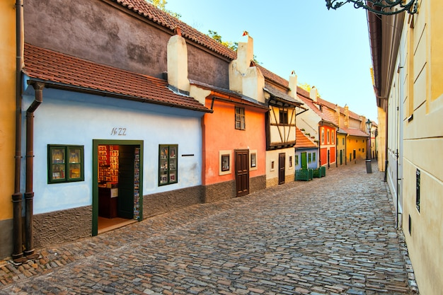 The golden lane of prague with the number 22 where the writer franz kafka lived