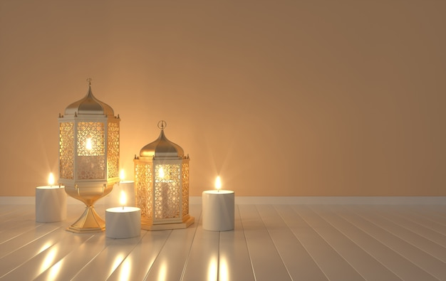 Golden lantern with candle, lamp with arabic decoration, arabesque design