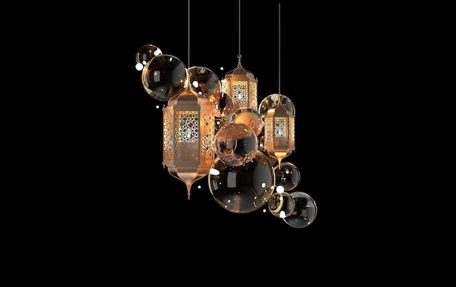 キャンドル付きの金色のランタン、アラビア風の装飾が施されたランプ、唐草模様のデザイン。