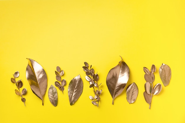 Golden leaves. top view.