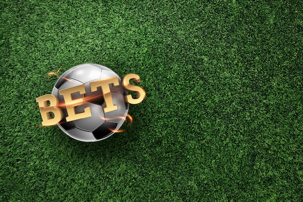 Golden lettering bets with soccer ball and green lawn background.