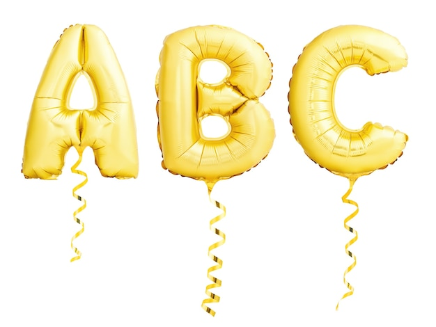 Golden letters abc made of inflatable balloons with golden ribbons isolated on white background