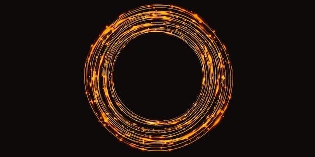 Золотая кривая света абстрактный фон круга сверкающий блеск 3d иллюстрация