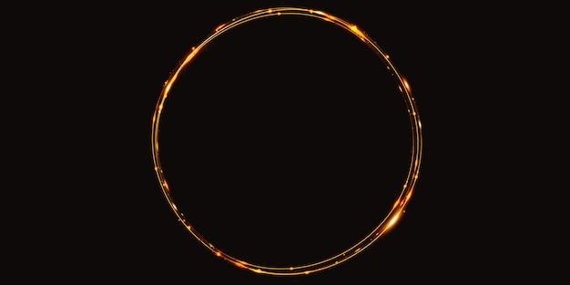 황금 빛 곡선 추상 원 배경 스파클 스파클 3d