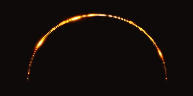 황금 빛 곡선 스파클 3d 그림