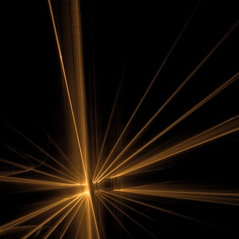 黒い背景で黄金の光線