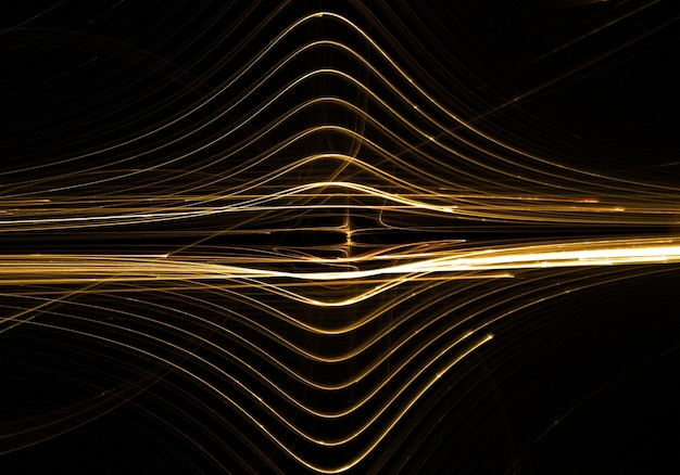 Golden lines waves abstract background