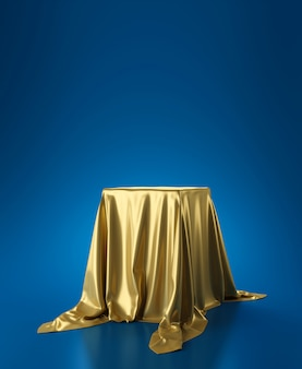 Golden luxurious fabric or cloth placed on top pedestal or blank podium shelf on blue wall with luxury concept. museum or gallery backdrops for product. 3d rendering.