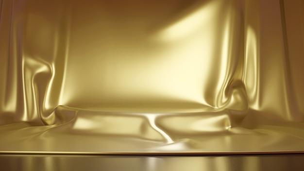 Золотая роскошная ткань помещена на верхний рендеринг постамента