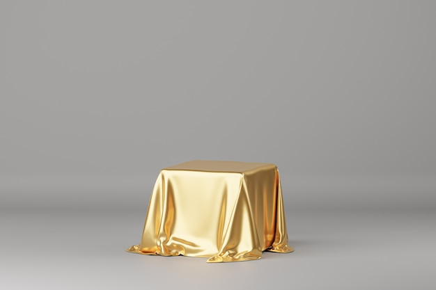Golden luxury fabric placed on podium or pedestal for products or advertising. 3d rendering. grey background.