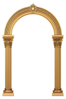 Golden luxury marble classic arch with columns