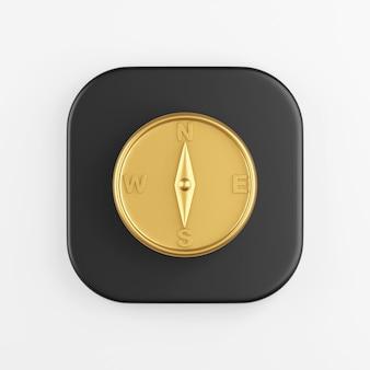 黄金の磁気コンパスアイコン。黒い四角いキーボタンの3dレンダリング、インターフェイスuiux要素。