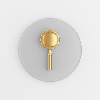 Золотой значок лупы в мультяшном стиле. 3d-рендеринг серой круглой кнопки, элемент интерфейса ui ux.