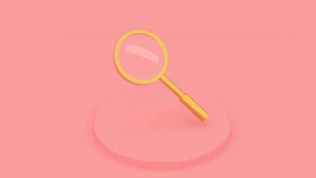 ピンクの背景に金色の拡大鏡3dレンダリング