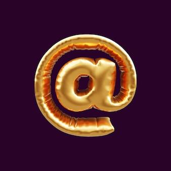 Золотой почтовый знак воздушный шар в 3d. 3d иллюстрации воздушный шар знак золотой почты