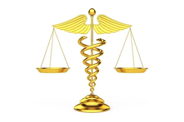 白い背景の上の鱗としての黄金の医療カドゥケウスのシンボル。 3dレンダリング