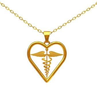 白い背景の上の黄金の医療カドゥケウスシンボルメダリオン。 3dレンダリング
